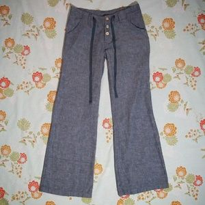 Derek Heart button fly drawstring linen pants